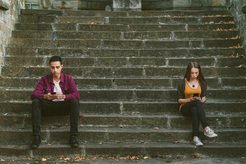 couple, texting, stairs, distant