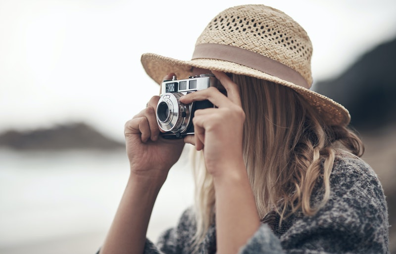 woman, beach, camera
