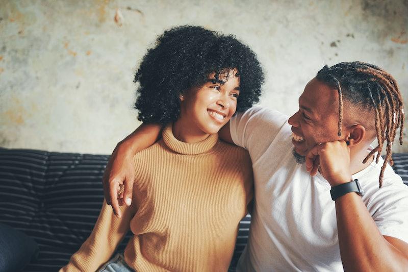 couple, smiling, happy