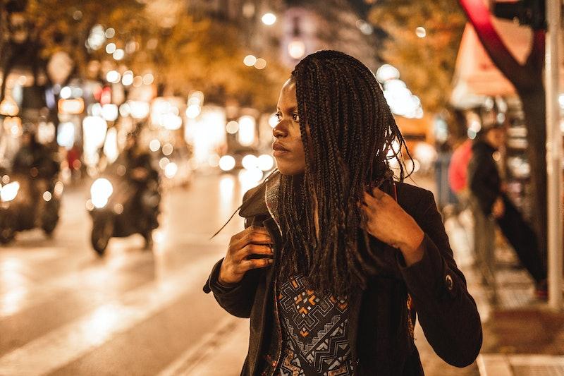 woman, city, busy, street