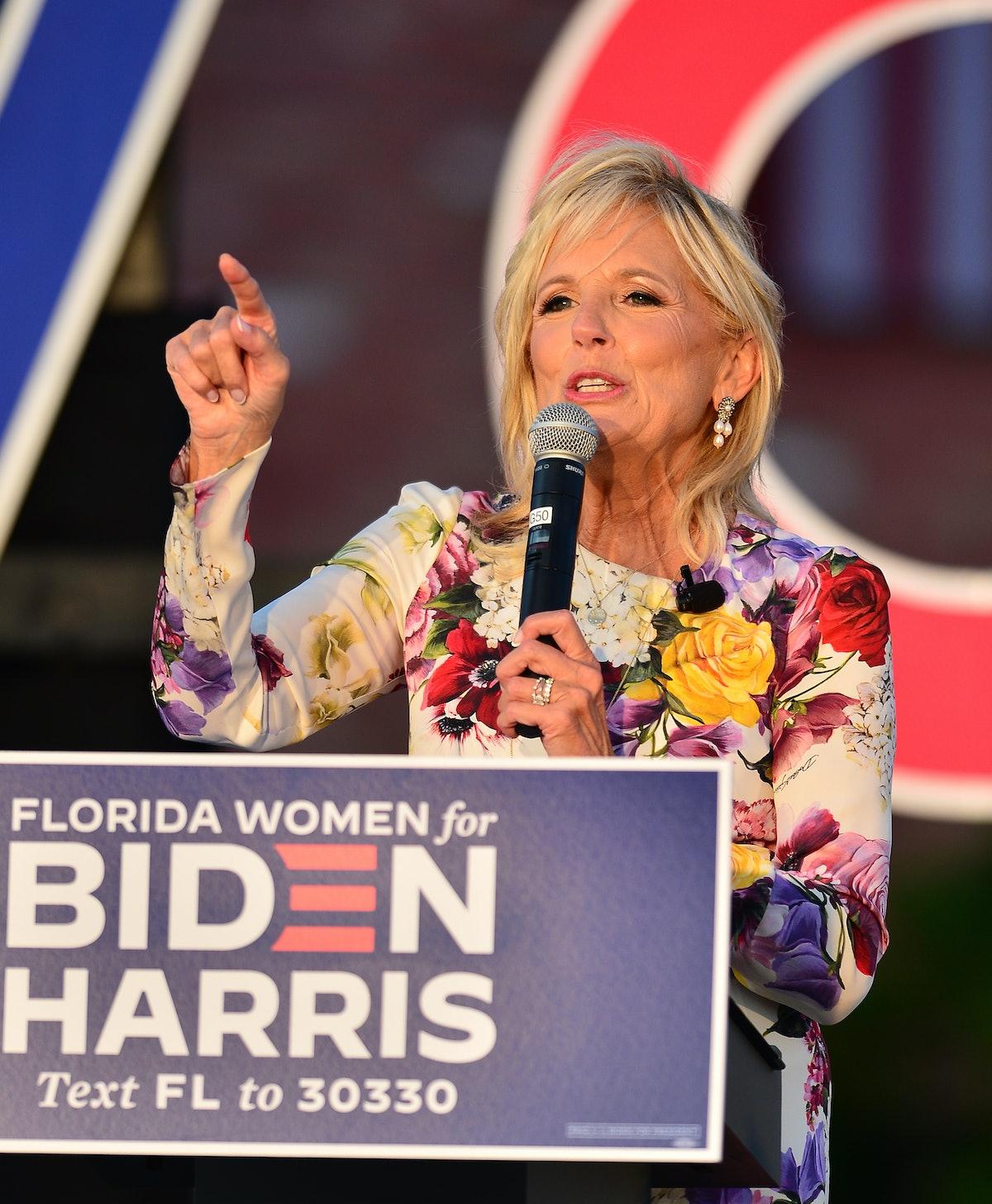 Dr. Jill Biden speaks at a 'Women for Biden' drive-in rally at Century Village in Boca Raton on Oct...