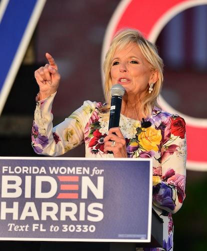 Dr. Jill Biden speaks at a 'Women for Biden' drive-in rally at Century Village in Boca Raton on October 5, 2020 in Boca Raton, Florida.