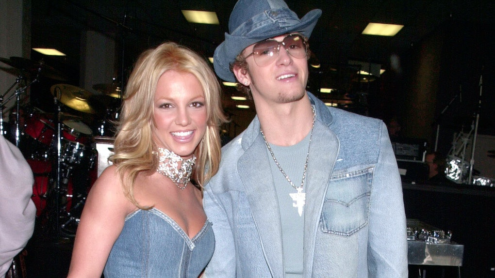 Britney Spears and Justin Timberlake attend the 2001 AMAs.