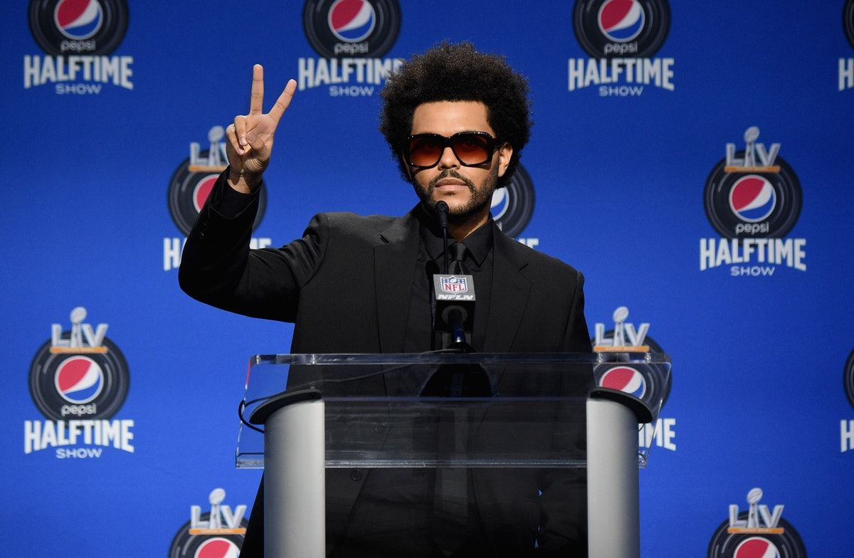 The Weeknd attends a Halftime Show press conference.