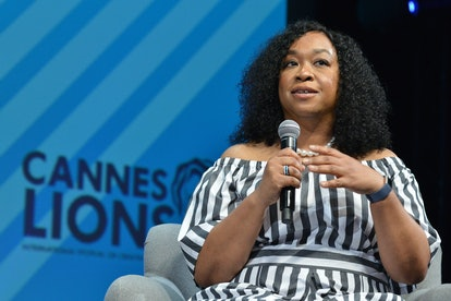 Shonda Rhimes speaks on a panel at Canne.