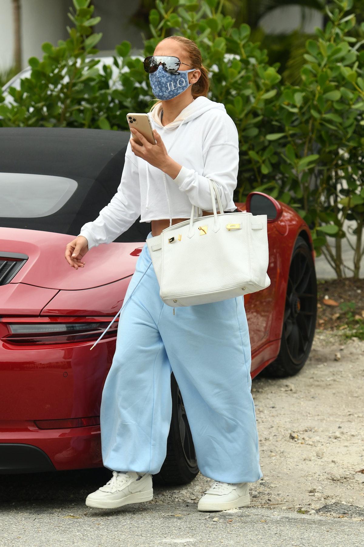 Jennifer Lopez is seen on January 12, 2021 in Miami, Florida.