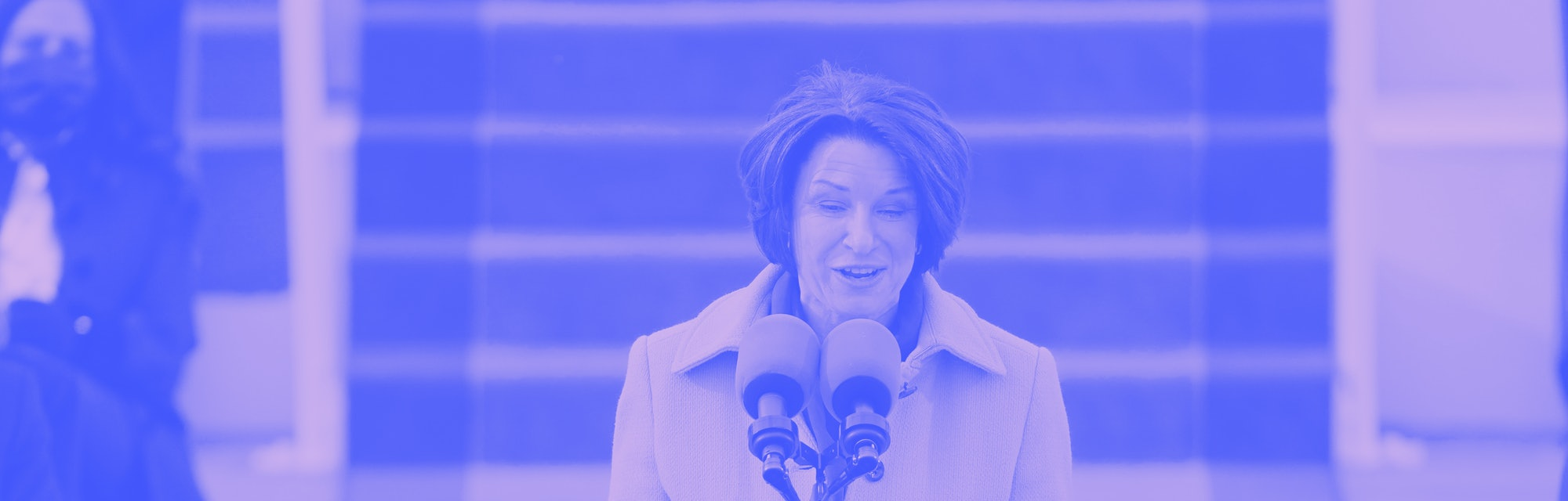Democratic senator Amy Klobuchar is seen at a podium on Inauguration Day.