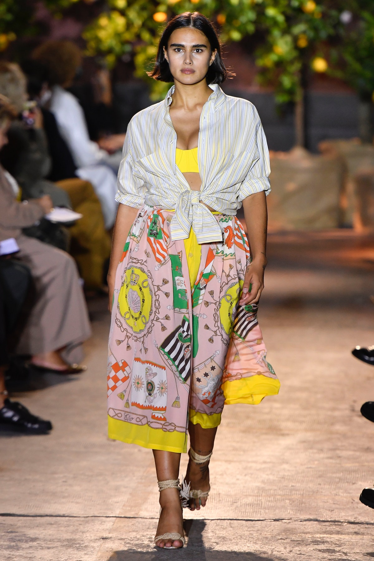 A model walks the runway in look 32 at the Etro Spring/Summer 2021 fashion show on September 24, 202...