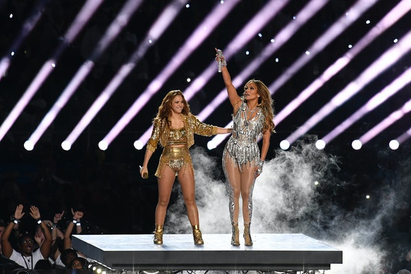 Shakira and Jennifer Lopez dance and interact with the crowd during the Super Bowl 2020 halftime show.