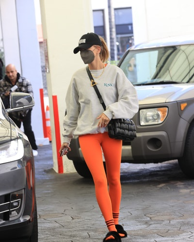 Hailey Bieber is seen on February 5, 2021 in Los Angeles, California.