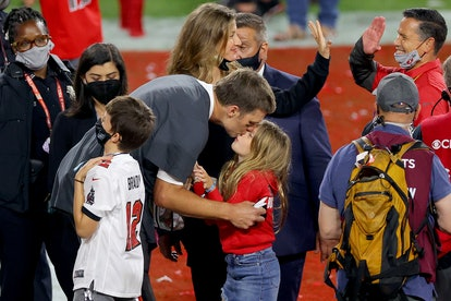 Tom Brady gave his daughter a kiss after winning the 2021 Super Bowl.