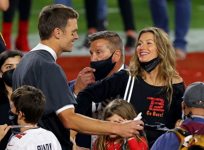 Tom Brady embraced his wife, Gisele Bundchen, after the 2021 Super Bowl.