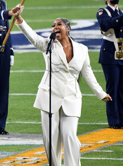 Jazmine Sullivan in Area at the 2021 Super Bowl.
