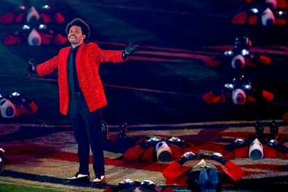 The Weeknd performs during the Pepsi Super Bowl LV Halftime Show at Raymond James Stadium on February 07, 2021 in Tampa, Florida.
