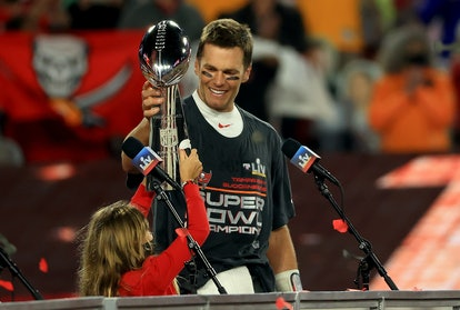 Tom Brady handed the trophy over to his daughter after winning the Super Bowl.