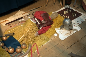 A reconstruction of the man's burial at Sutton Hoo.