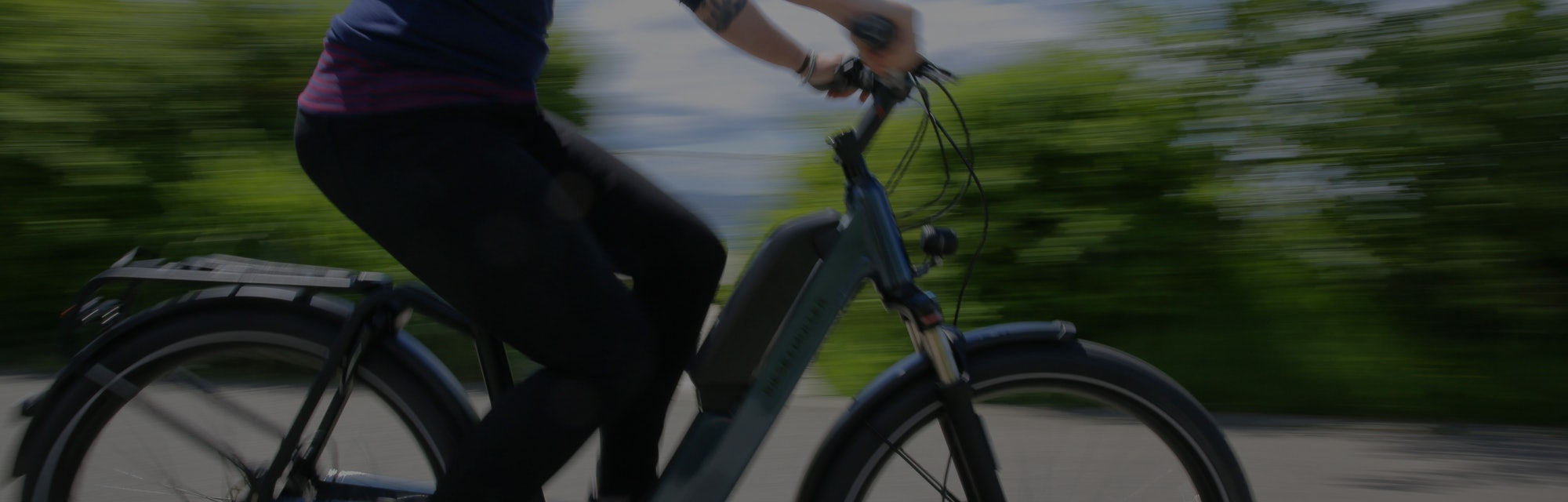 Person riding an electric bicycle.