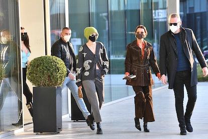 Gigi Hadid and Bella Hadid are seen during the Milan Women's Fashion Week Fall/Winter 2021/2022 on F...
