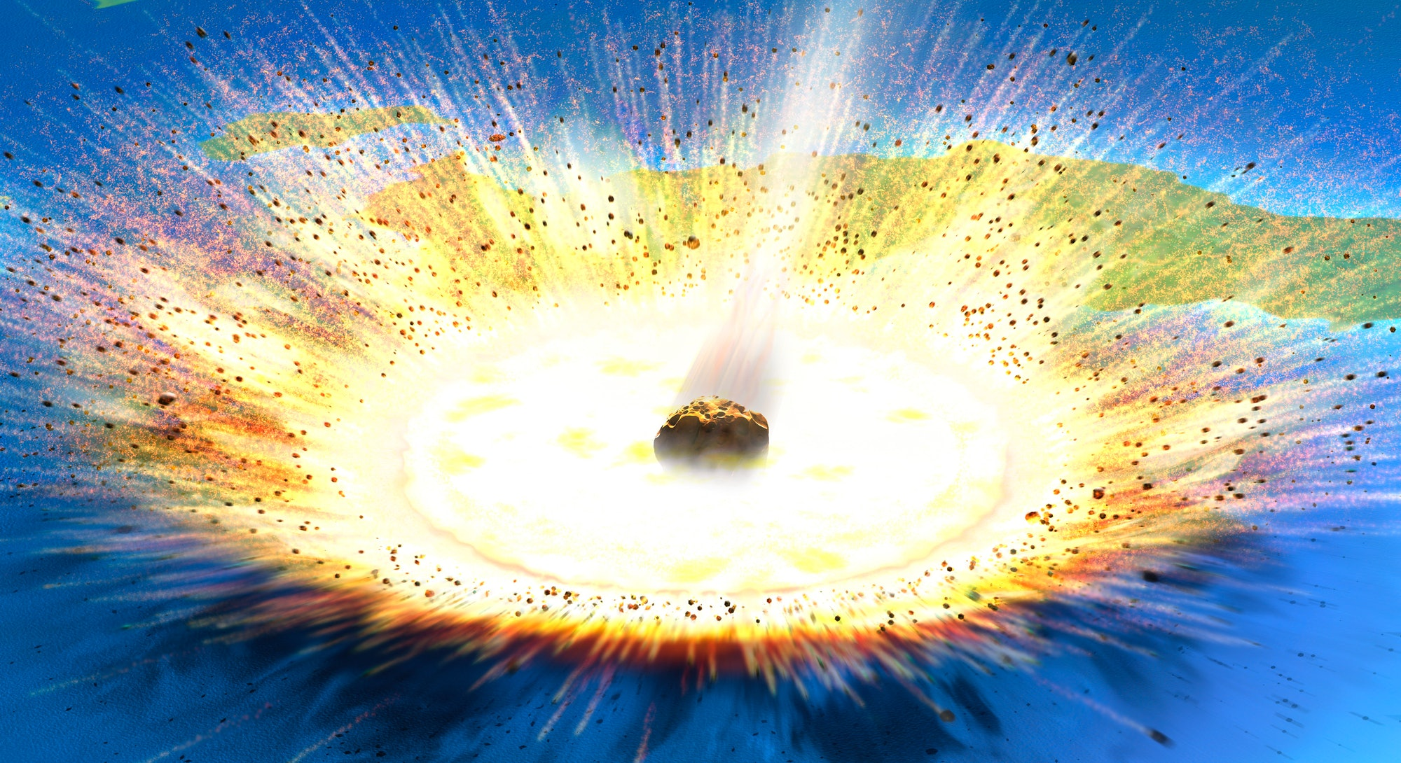 Asteroid impact. Illustration of a large asteroid colliding with Earth on the Yucatan Peninsula in Mexico. This impact is believed to have led to the death of the dinosaurs some 65 million years ago. The impact formed the Chicxulub crater, which is around 200 kilometres wide. The impact would have thrown trillions of tons of dust into the atmosphere, cooling the Earth's climate significantly, which may have been responsible for the mass extinction. A layer of iridium- rich rock, known as the K pg boundary, is thought to be the remnants of the impact debris.