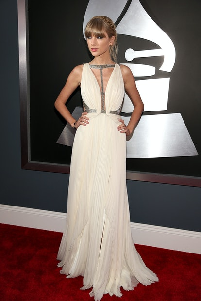 LOS ANGELES, CA - FEBRUARY 10:  Taylor Swift arrives at the 55th Annual GRAMMY Awards on February 10...