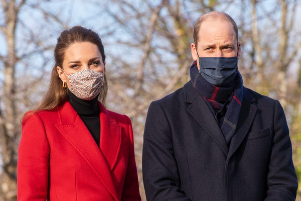 Wearing a protective face covering to combat the spread of the coronavirus, Britain's Catherine, Duchess of Cambridge and Britain's Prince William, Duke of Cambridge, arrive to meet staff and residents during a visit to Cleve Court Care Home in Bath in south west England to pay tribute to the efforts of care home staff throughout the COVID-19 pandemic, on December 8, 2020, on the final day of engagements on their tour of the UK. - During their trip, their Royal Highnesses hope to pay tribute to individuals, organisations and initiatives across the country that have gone above and beyond to support their local communities this year. (Photo by Paul Grover / POOL / AFP) (Photo by PAUL GROVER/POOL/AFP via Getty Images)