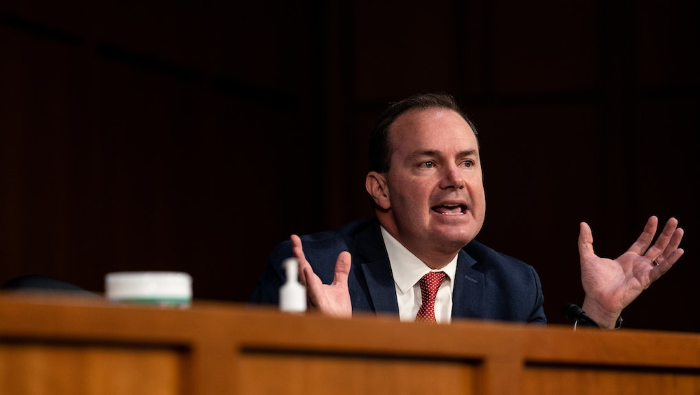 WASHINGTON, DC - OCTOBER 12:  U.S. Sen. Mike Lee (R-UT) speaks during Supreme Court Justice nominee Judge Amy Coney Barrett's Senate Judiciary Committee confirmation hearing for Supreme Court Justice in the Hart Senate Office Building on October 12, 2020 in Washington, DC. With less than a month until the presidential election, President Donald Trump tapped Amy Coney Barrett to be his third Supreme Court nominee in just four years. If confirmed, Barrett would replace the late Associate Justice Ruth Bader Ginsburg. (Erin Schaff-Pool/Getty Images)