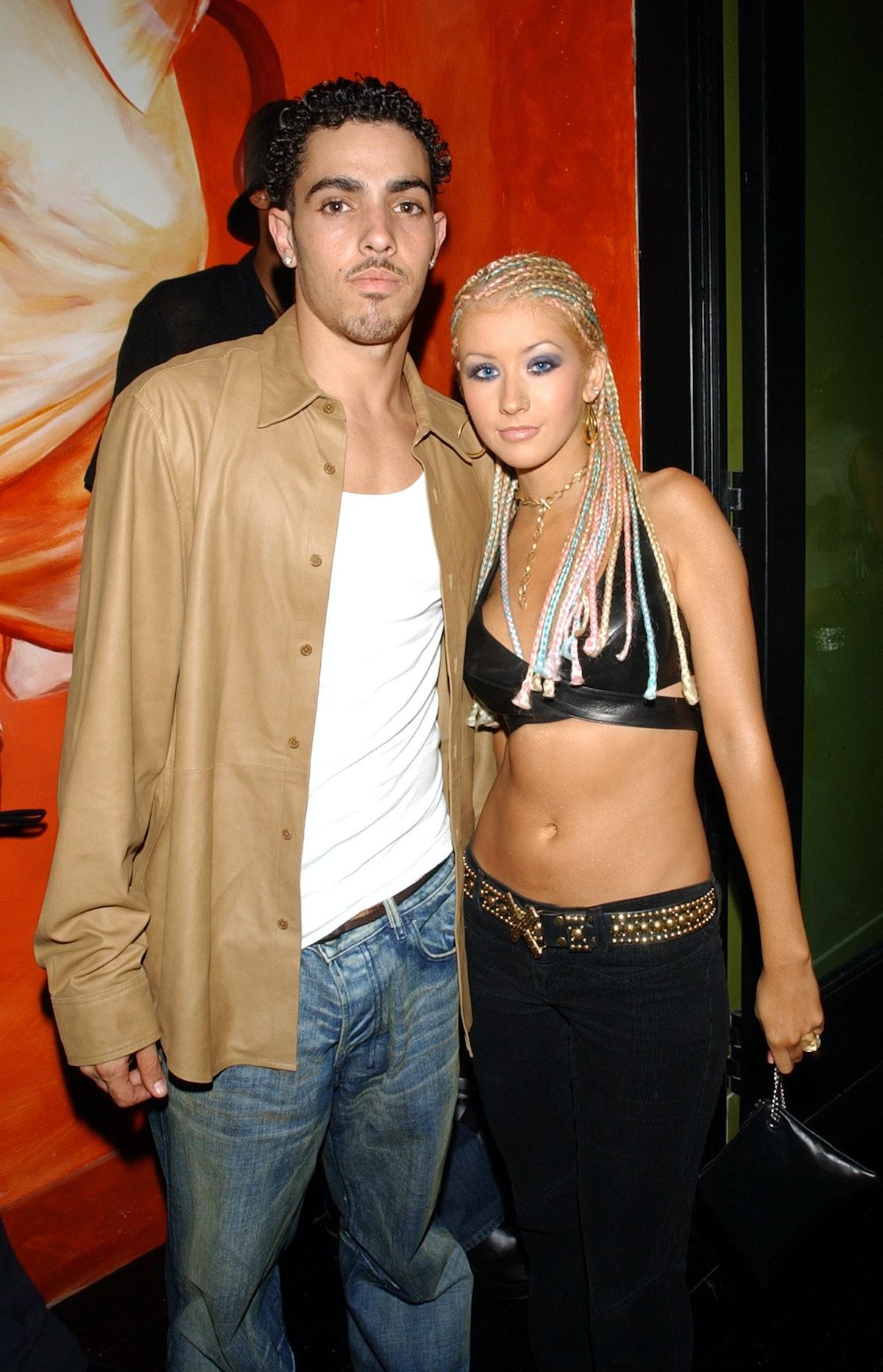 Christina Aguilera and Jorge Santos arrive during Jennifer Lopez and Stuff Magazine party following ...
