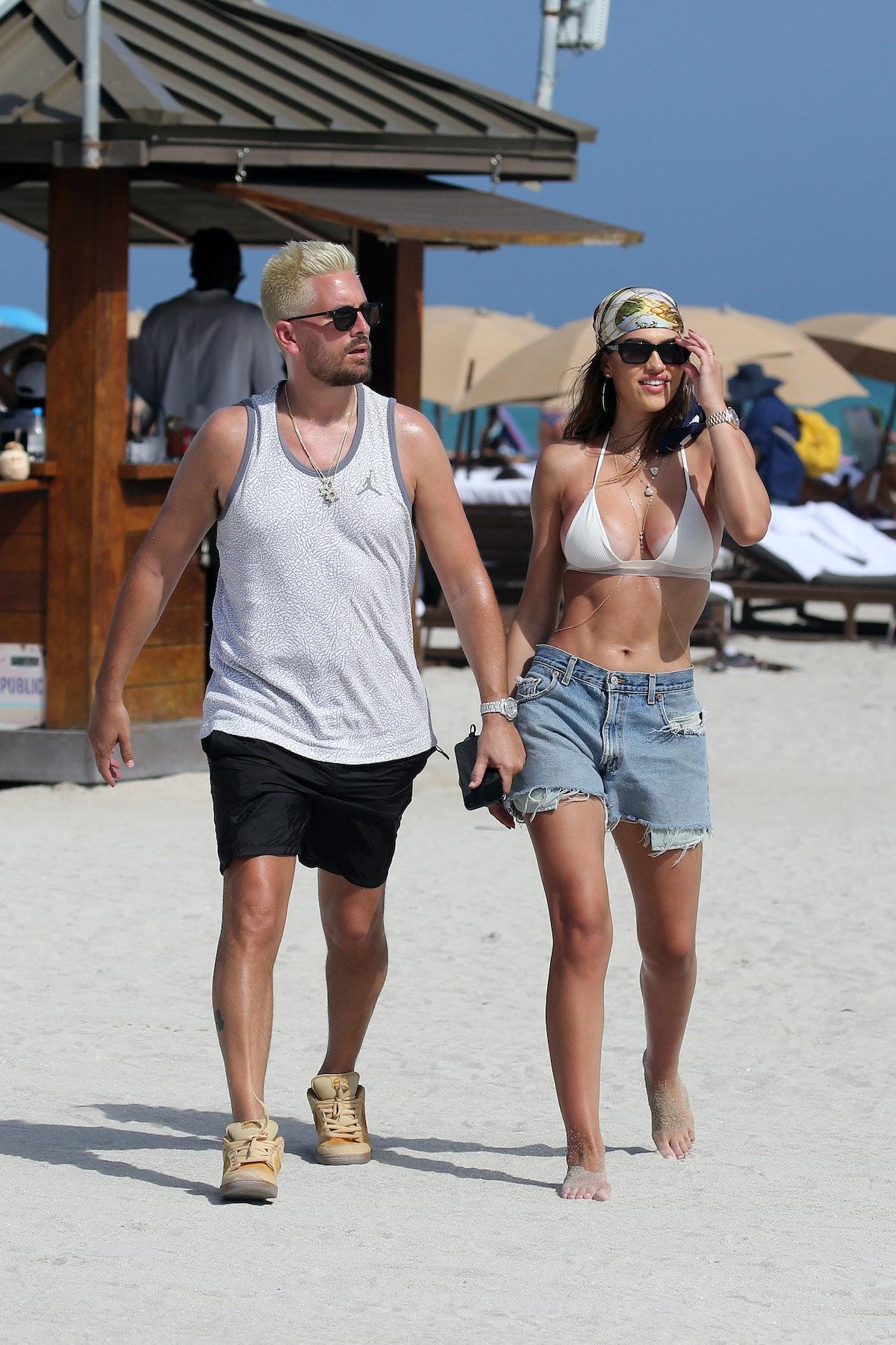 MIAMI, FL - FEBRUARY 14:  Scott Disick and Amelia Hamlin are seen on February 14, 2021 in Miami, Florida. (Photo by MEGA/GC Images)