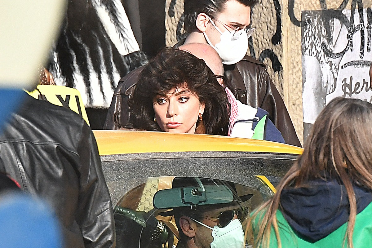 """Lady Gaga is seen filming """"House of Gucci"""" movie on March 10, 2021 in Milan, Italy."""