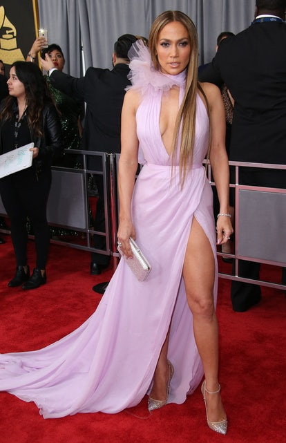 LOS ANGELES, CA - FEBRUARY 12: Singer Jennifer Lopez arrives at The 59th GRAMMY Awards at Staples Ce...
