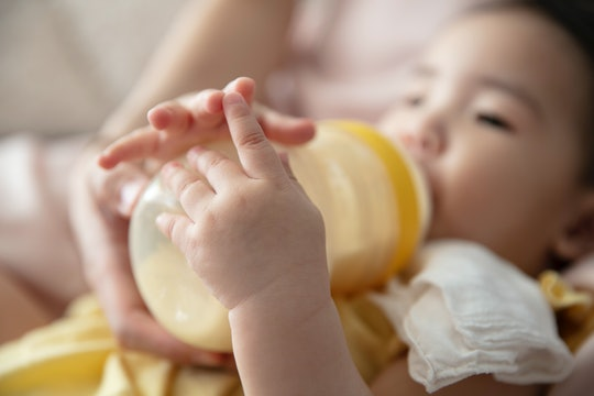 Drinking pumped stringy breast milk is just fine for babies.