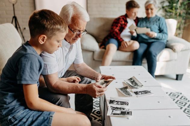 grandparents looking at photos