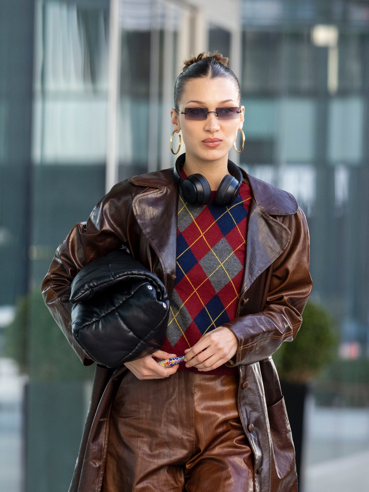 MILAN, ITALY - FEBRUARY 20: Bella Hadid is seen during Milan Fashion Week Fall/Winter 2020-2021 on February 20, 2020 in Milan, Italy. (Photo by Arnold Jerocki/Getty Images)