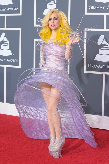 LOS ANGELES, CA - JANUARY 31:  Musician Lady Gaga arrives at the 52nd Annual GRAMMY Awards held at S...