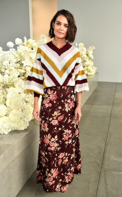 NEW YORK, NY - SEPTEMBER 10:  Katie Holmes attends the Zimmermann front row during New York Fashion Week: The Shows at Gallery I at Spring Studios on September 10, 2018 in New York City.  (Photo by Theo Wargo/Getty Images for NYFW: The Shows)
