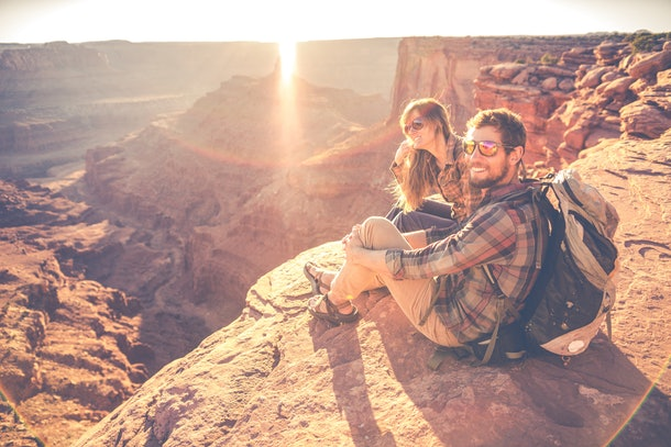 Young Couple hiking in the Southwest United States