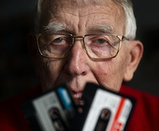 This file picture shows Dutch Lodewijk Frederik Ottens - called Lou Ottens - the inventor of the cassette tape, posing during a photo session in Eindhoven, on January 23, 2013. - Lou Ottens died at the age of 94 few on March 6, 2021. - Netherlands OUT (Photo by Jerry Lampen / ANP / AFP) / Netherlands OUT (Photo by JERRY LAMPEN/ANP/AFP via Getty Images)
