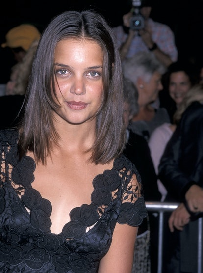 """WESTWOOD, CA - AUGUST 11:   Actress Katie Holmes attends the """"Teaching Mrs. Tingle"""" Westwood Premiere on August 11, 1999 at the Mann Bruin Theatre in Westwood, California. (Photo by Ron Galella, Ltd./Ron Galella Collection via Getty Images)"""