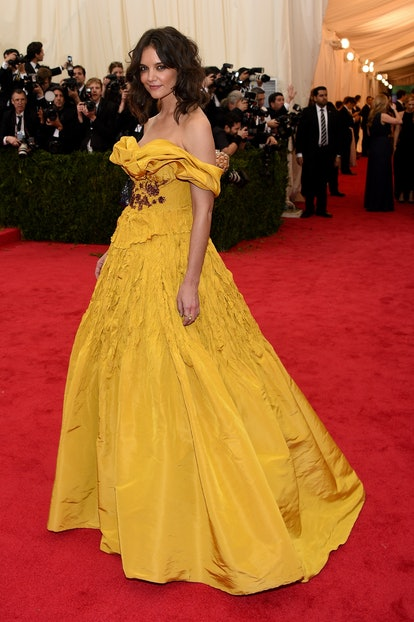 """NEW YORK, NY - MAY 05:  Katie Holmes attends the """"Charles James: Beyond Fashion"""" Costume Institute Gala at the Metropolitan Museum of Art on May 5, 2014 in New York City.  (Photo by Larry Busacca/Getty Images)"""