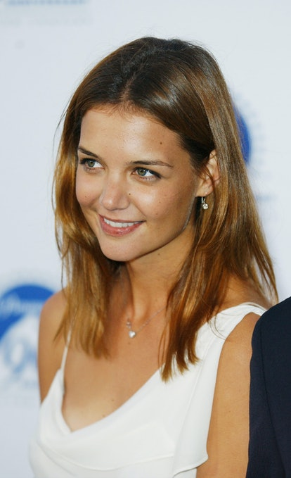 """HOLLYWOOD - JULY 14:  Actress Katie Holmes attends Paramount Pictures' """"90 Stars for 90 Years"""" Anniversary Celebration at the Paramount Pictures Studios on July 14, 2002 in Hollywood, California.  (Photo by Robert Mora/Getty Images)"""