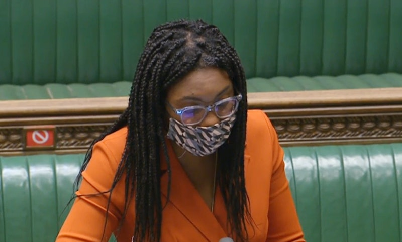 Equalities Minister Kemi Badenoch answers a question at the despatch box while wearing a face coveri...