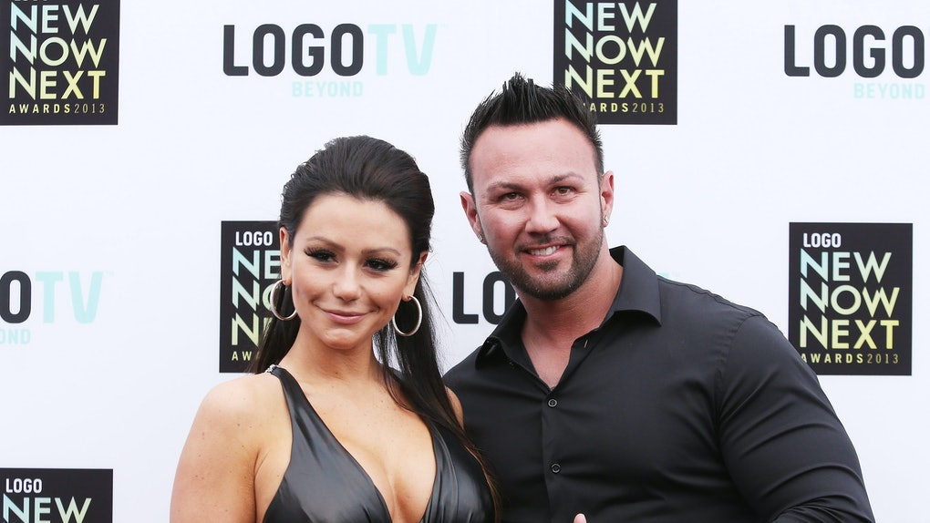 """LOS ANGELES, CA - APRIL 13:  Jenni """"JWOWW"""" Farley (L) and Roger Mathews arrive at the Logo NewNowNext Awards 2013 held at The Fonda Theatre on April 13, 2013 in Los Angeles, California.  (Photo by Michael Tran/FilmMagic)"""