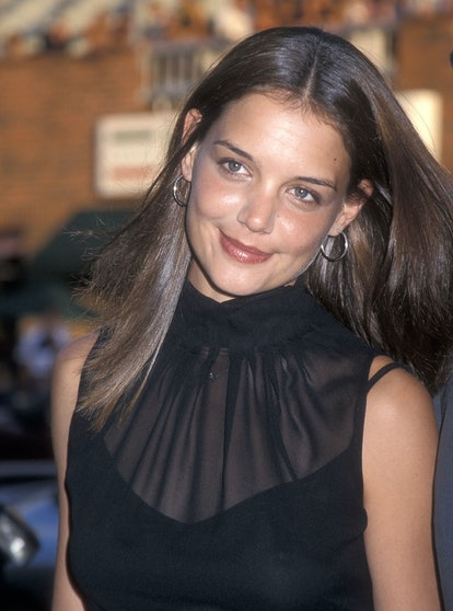 """WESTWOOD, CA - AUGUST 6:   Actress Katie Holmes attends the """"American Pie 2"""" Westwood Premiere on August 6, 2001 at the Mann National Theatre in Westwood, California. (Photo by Ron Galella, Ltd./Ron Galella Collection via Getty Images)"""
