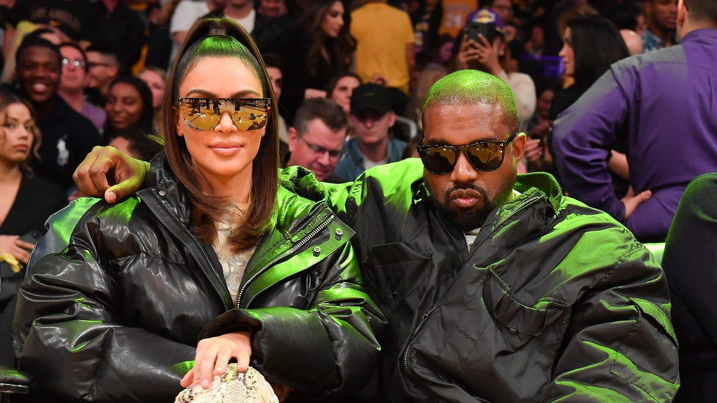 LOS ANGELES, CALIFORNIA - JANUARY 13: Kim Kardashian and Kanye West attend a basketball game between the Los Angeles Lakers and the Cleveland Cavaliers at Staples Center on January 13, 2020 in Los Angeles, California. (Photo by Allen Berezovsky/Getty Images)