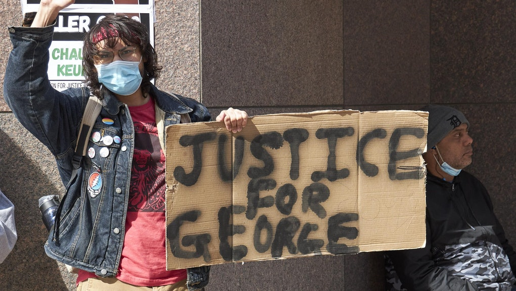 WASHINGTON, March 9, 2021 -- Protestors are seen outside the Hennepin County courthouse in Minneapolis, Minnesota, the United States, March 9, 2021.   Jury selection in the trial of former Minneapolis police officer Derek Chauvin began on Tuesday over African American George Floyd's death which sparked nationwide protests and riots for racial justice last year. (Photo by Matthew Mcintosh/Xinhua via Getty) (Xinhua/Matthew Mcintosh via Getty Images)
