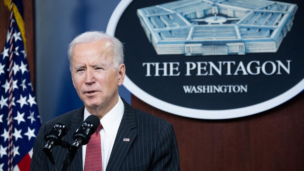 US President Joe Biden speaks during a visit to the Pentagon in Washington, DC, February 10, 2021. (Photo by SAUL LOEB / AFP) (Photo by SAUL LOEB/AFP via Getty Images)