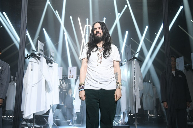 MILAN, ITALY - FEBRUARY 19: Fashion Designer Alessandro Michele acknowledges the appause of the audience during the Gucci Fall/Winter 2020/21 fashion show during Milan Fashion Week on February 19, 2020 in Milan, Italy. (Photo by Daniele Venturelli/Getty Images for Gucci)