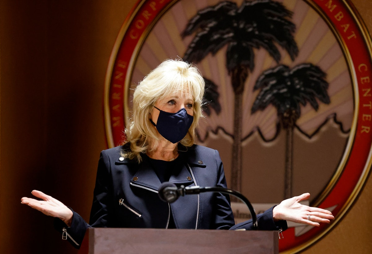US First Lady Jill Biden speaks during a visit to the US Marine Corps Air Ground Combat Center in Tw...