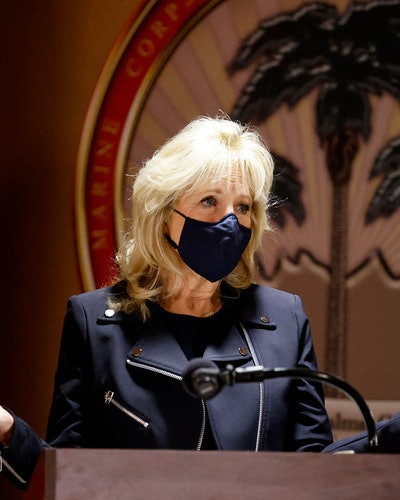 US First Lady Jill Biden speaks during a visit to the US Marine Corps Air Ground Combat Center in Twentynine Palms, California, on March 10, 2021. (Photo by MIKE BLAKE / POOL / AFP) (Photo by MIKE BLAKE/POOL/AFP via Getty Images)