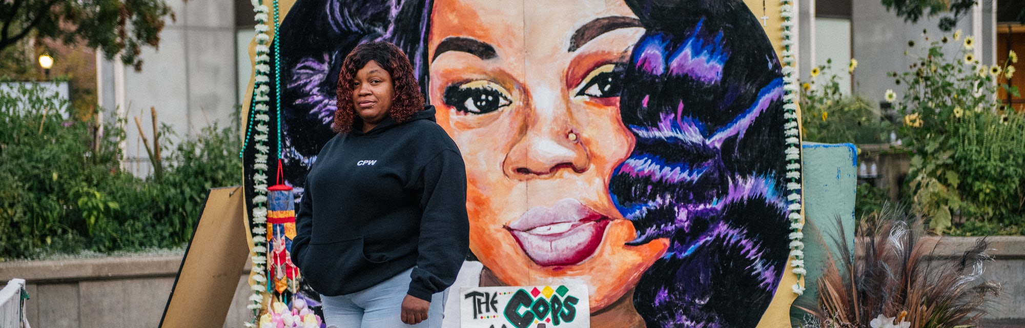 Tamika Palmer, mother of Breonna Taylor, poses for a portrait in front of a mural of her daughter at Jefferson Square park on September 21, 2020 in Louisville, Kentucky. Demonstrators gathered to prepare for possible unrest in wake of the Grand Jury decision regarding the officers involved in the killing of Breonna Taylor. Taylor was fatally shot by Louisville Metro Police officers during a no-knock warrant at her apartment on March 13, 2020 in Louisville, Kentucky. Demonstrators have occupied the park for 118 days.